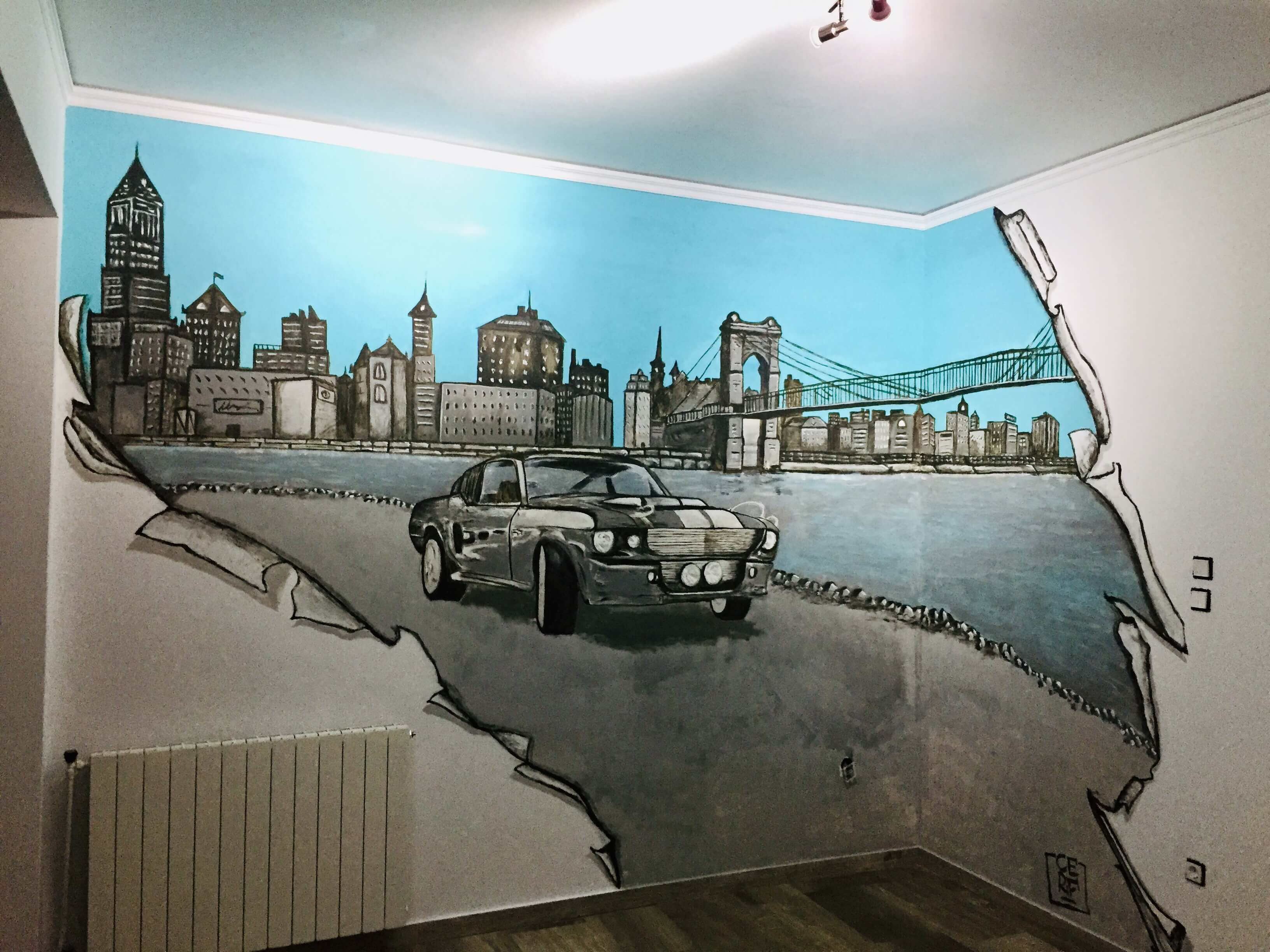 Mural in living room. Ford Mustang with urban city background